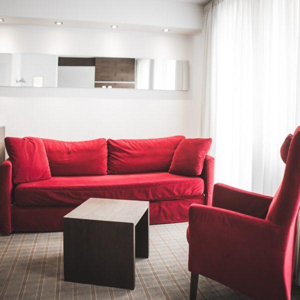 Die Sitzecke in der Suite