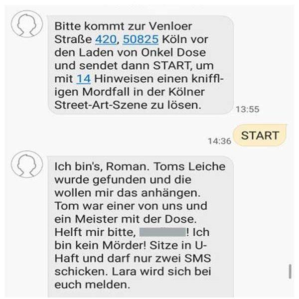 Schnitzeljagd planlos in Köln. SMS Beispiel